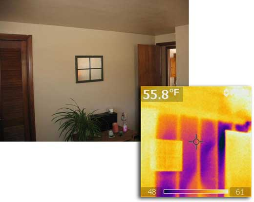 Infra red images show energy leakage locations